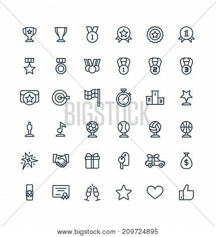 Vector thin line icons set, graphic design elements. Illustration with award, achievement symbols. Medal, sport trophy, first place prize, victory gift, cinema, music statuette linear pictogram