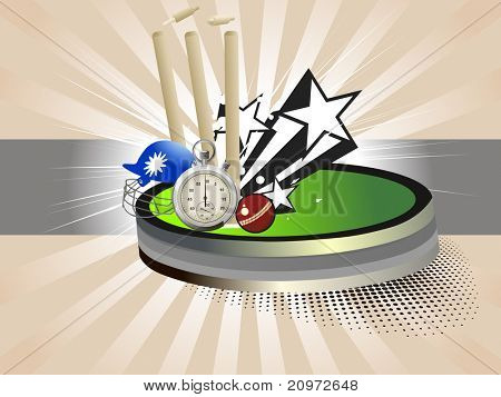 abstract rays background with cricket supplies, vector illustration