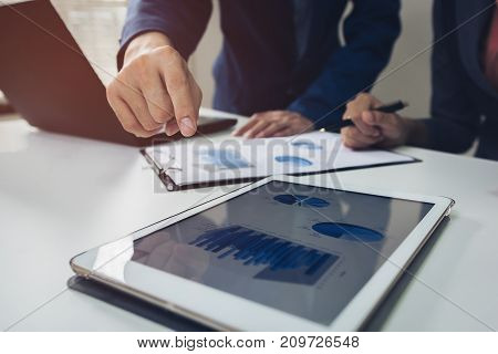 Business strategy invesment consept : Two businessman confident executive colleagues meeting and discussing at office.