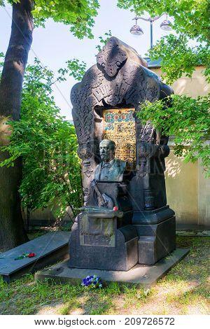 SAINT PETERSBURG, RUSSIA - JUNE, 2015: NECROPOLIS OF ALEXANDER NEVSKY LAVRA. MONUMENT TO RUSSIAN COMPOSER AND SCIENTIST ALEXANDER BORODIN