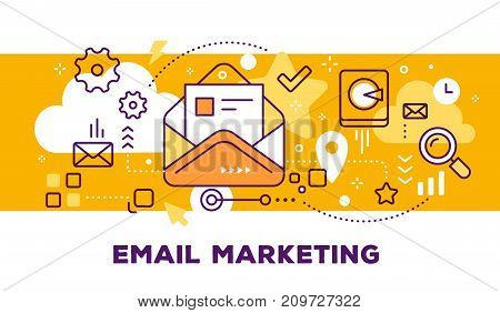 Vector Illustration Of Open Envelope With Letter And Icons. Email Marketing Concept On Yellow Backgr