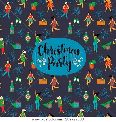 Christmas Party. Vector design element with with dancing women and New Year symbols. For invitation, banner, card, poster, flyer, web and other users.