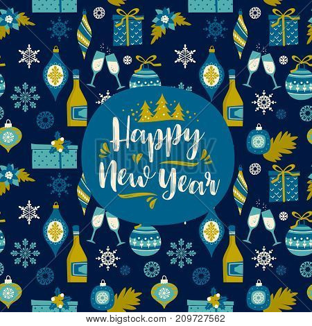 Vector design element with New Year and Christmas symbols. For invitation, banner, card, poster, flyer, web and other users.