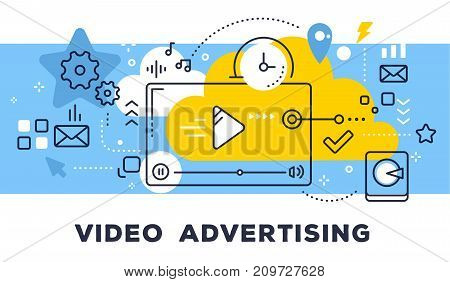 Video Advertising Concept On Blue Background With Title. Vector Illustration Of Video Player And Ico