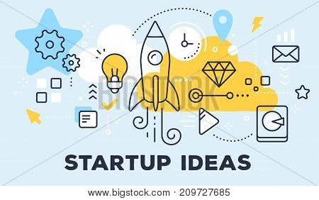 Vector Illustration Of Rocket, Light Bulb, Cloud And Icons. Startup Ideas Concept On Blue Background