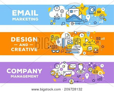 Vector Set Of Banner Illustrations With Business Elements. Email Marketing & Management Concept On C
