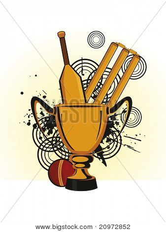 abstract grungy background with cricket supplies, vector illustration