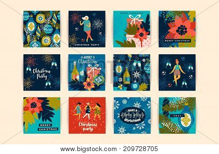 Christmas cards with dancing women and New Year s symbols. Trendy vintage style. Retro party. Vector design for poster, card, invitation, placard, brochure, flyer.