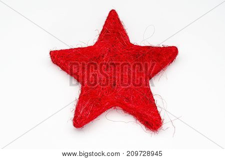 red star christmas decoration on white background