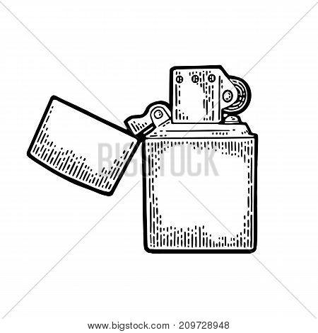Metal lighter open. Vector vintage engraving black illustration isolated on white background.