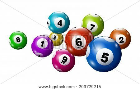Vector Bingo / Lottery Colorful Number Balls Set From 1 to 9