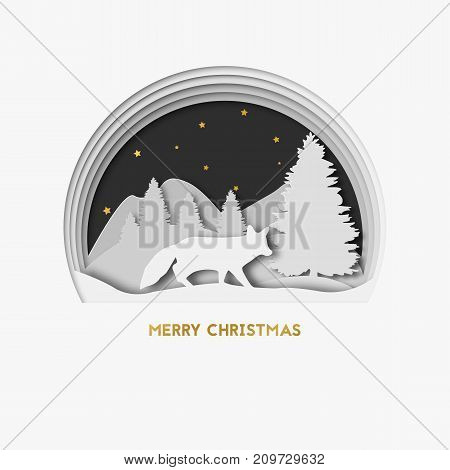 Merry Christmas. 3d layered paper art greeting christmas card with with fox. Christmas tree, stars and mountains on the background. Greeting card template in paper cut craft style.