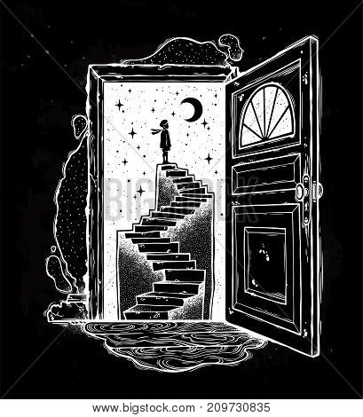 Open door into a dream. Abandoned ruin stairway to the night, with a boy looking at moon sky. Symbol of imagination, creative idea, motivation, dreams. Surreal tattoo. Isolated vector illustration.