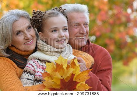 Portrait of smiling  grandparents and granddaughter in park
