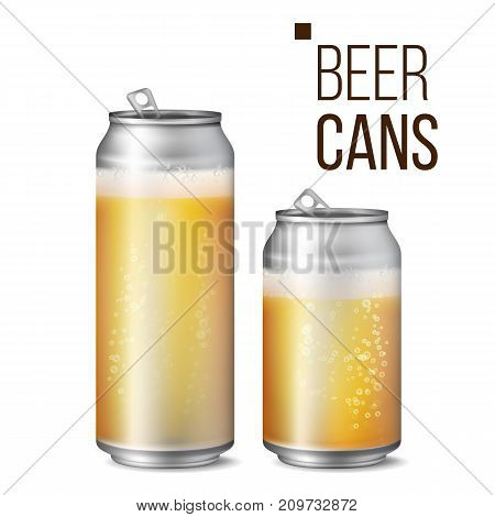 Beer Cans Vector. 500 and 330 ml Can Blank. Beer Background Texture With Foam And Bubbles. Isolated Illustration