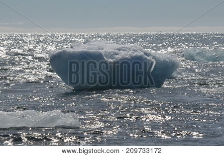 Iceberg floating in the icey waters of Iceland