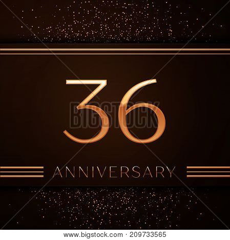 Realistic Thirty six Years Anniversary Celebration Logotype. Golden numbers and golden confetti on brown background. Colorful Vector template elements for your birthday party