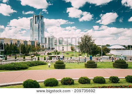 Minsk, Belarus. Business Center Skyscraper On Pobediteley Avenue In District Central Nemiga In Summer Day