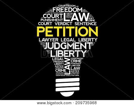 Petition Bulb Word Cloud Collage