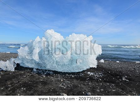 Chunk of an iceberg on the shore of a lagoon