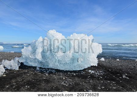 Unique chunk of an iceberg on the beach of iceland