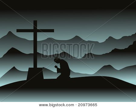 abstract mountain background with man praying in moon night