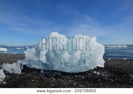 Unique iceberg on the beach in Iceland