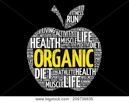 Organic apple word cloud collage , health concept