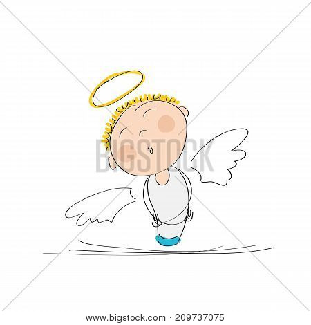 Cute dreamy angel with stars above - original hand drawn illustration