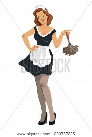 Vector illustration of a beautiful smiling young woman wearing french maid outfit with black dress and white apron holding a feather duster in vintage retro pinup girl style isolated on white.