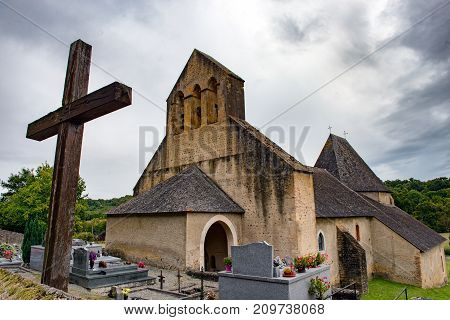 View of the old church in the small village of south of france
