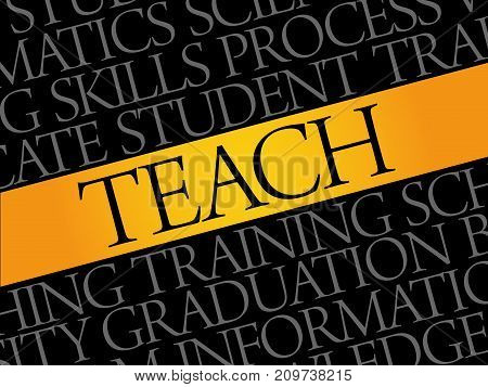 TEACH word cloud collage education concept background