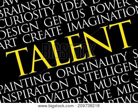 Talent word cloud collage creative business concept background