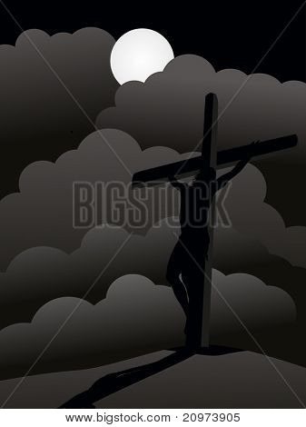 cloudy night, moon background with jesus christ