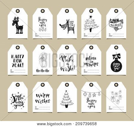 Happy New Year greeting tags with holiday symbols and hand drawn lettering. Warm wishes. Make a wish. Believe in miracles.