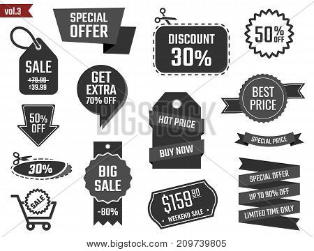 sale banners set, discount coupons and labels