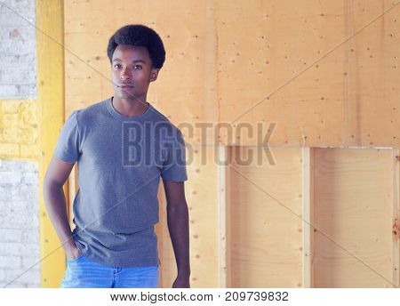 construction site worker jeans t-shirt disaster cleaning damage repair