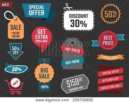 discount icons, big sale banners and labels