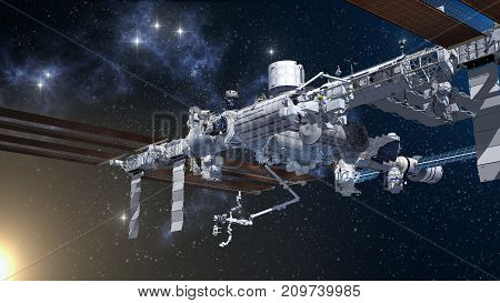 Nadir Side Of The  International Space Station Flying Above Earth