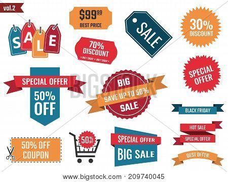 discount coupons set, sale banners, special offer labels