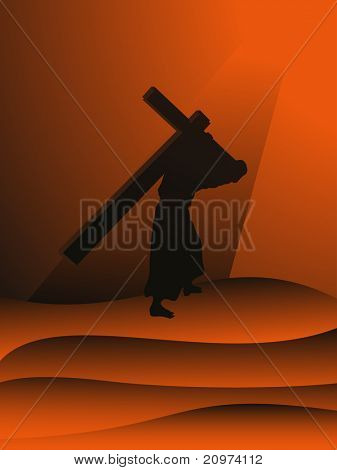 abstract sunset background with jesus holding cross