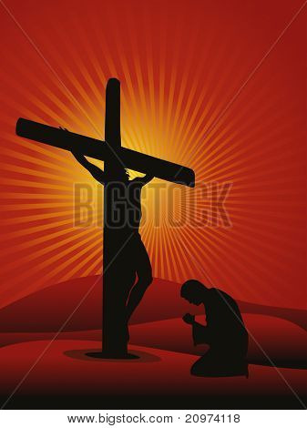 rays background with man praying to jesus, vector illustration