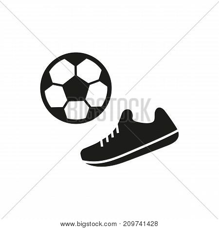 Simple icon of boots and ball. Sports supplies, football, soccer. Sporting goods concept. Can be used for topics like sport, footwear, leisure