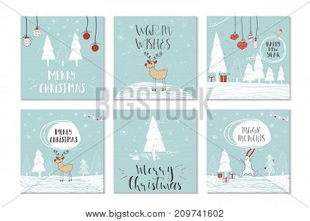 Set Of 6 Cute Christmas Gift Cards With Quotes