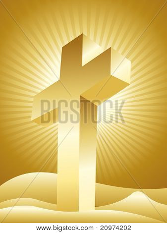 golden rays background with isolated cross, vector illustration