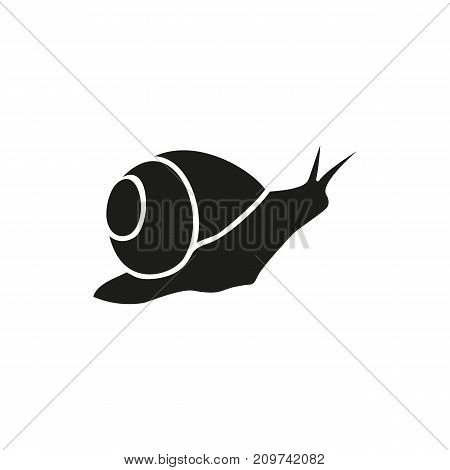 Simple icon of crawling snail. Mollusk, domestic animal, marine life. Pet types concept. Can be used for topics like aquarium, fauna, zoology poster