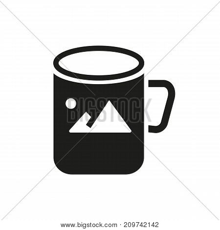 Simple icon of cup with image. Promotional item, souvenir, sublimation print. Advertising concept. Can be used for topics like business, promotion, printing works