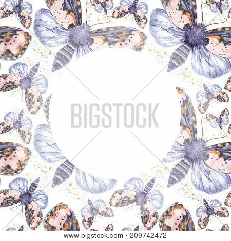 Painted drawing watercolor shaggy butterfly bear seamless pattern, bright coloring, thick body, night butterfly on white background with spray in serene tones with round frame, for decor, print