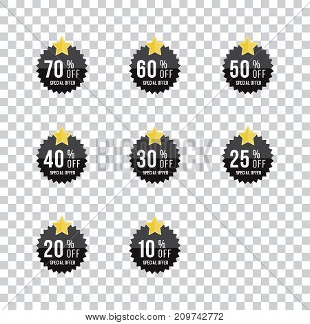 Set Black Sale Sticker With Yellow Star. Template Of The Emblem With Special Offer Flat Vector Eps 1
