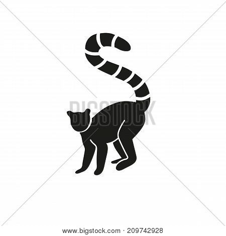 Simple icon of lemur. Ring-tailed lemur, Madagascar, endemic. Animals concept. Can be used for topics like zoo, fauna, primates